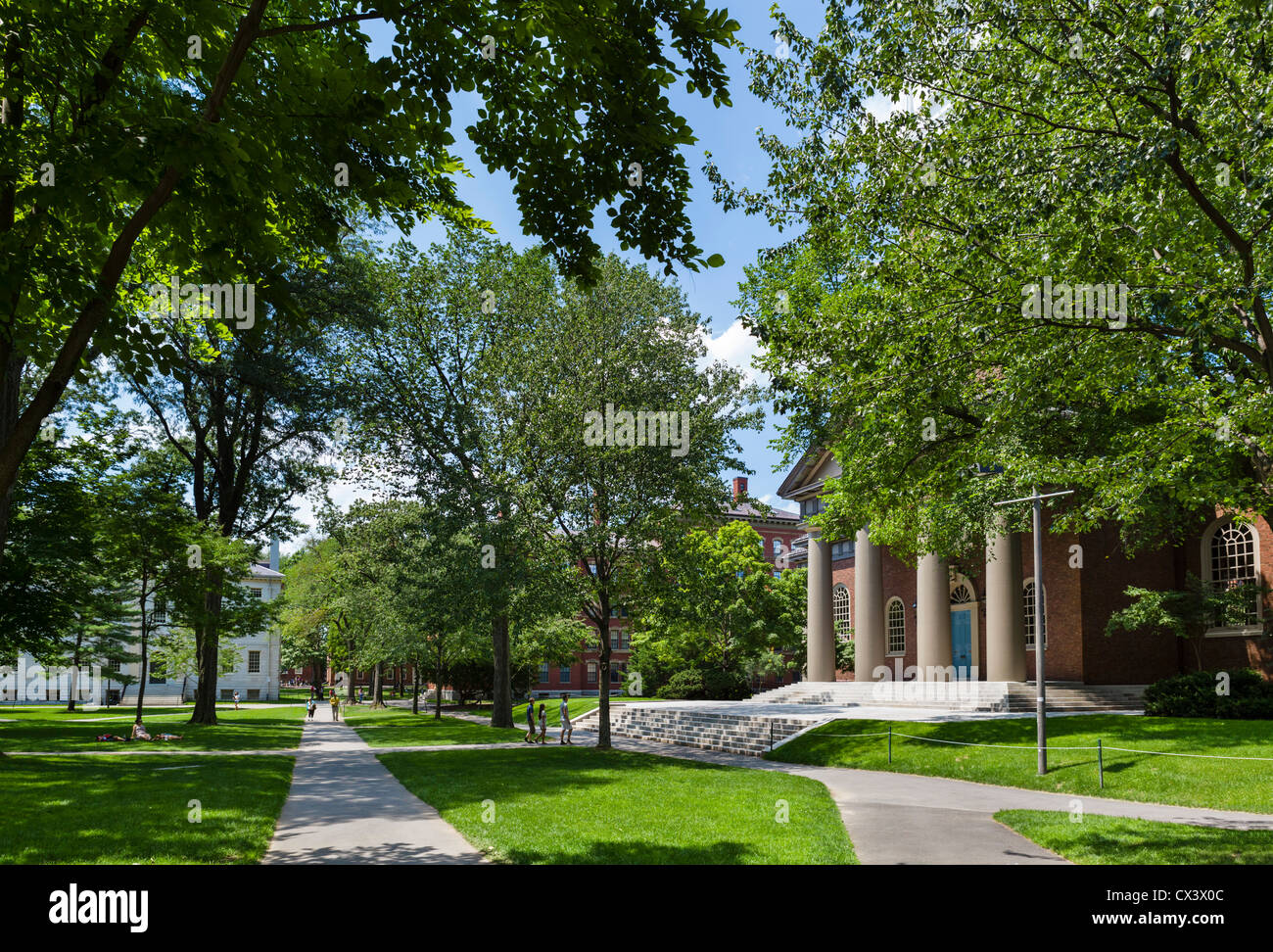 Harvard Yard with the Memorial Church to the right , Harvard University, Cambridge, Boston, Massachusetts, USA - Stock Image