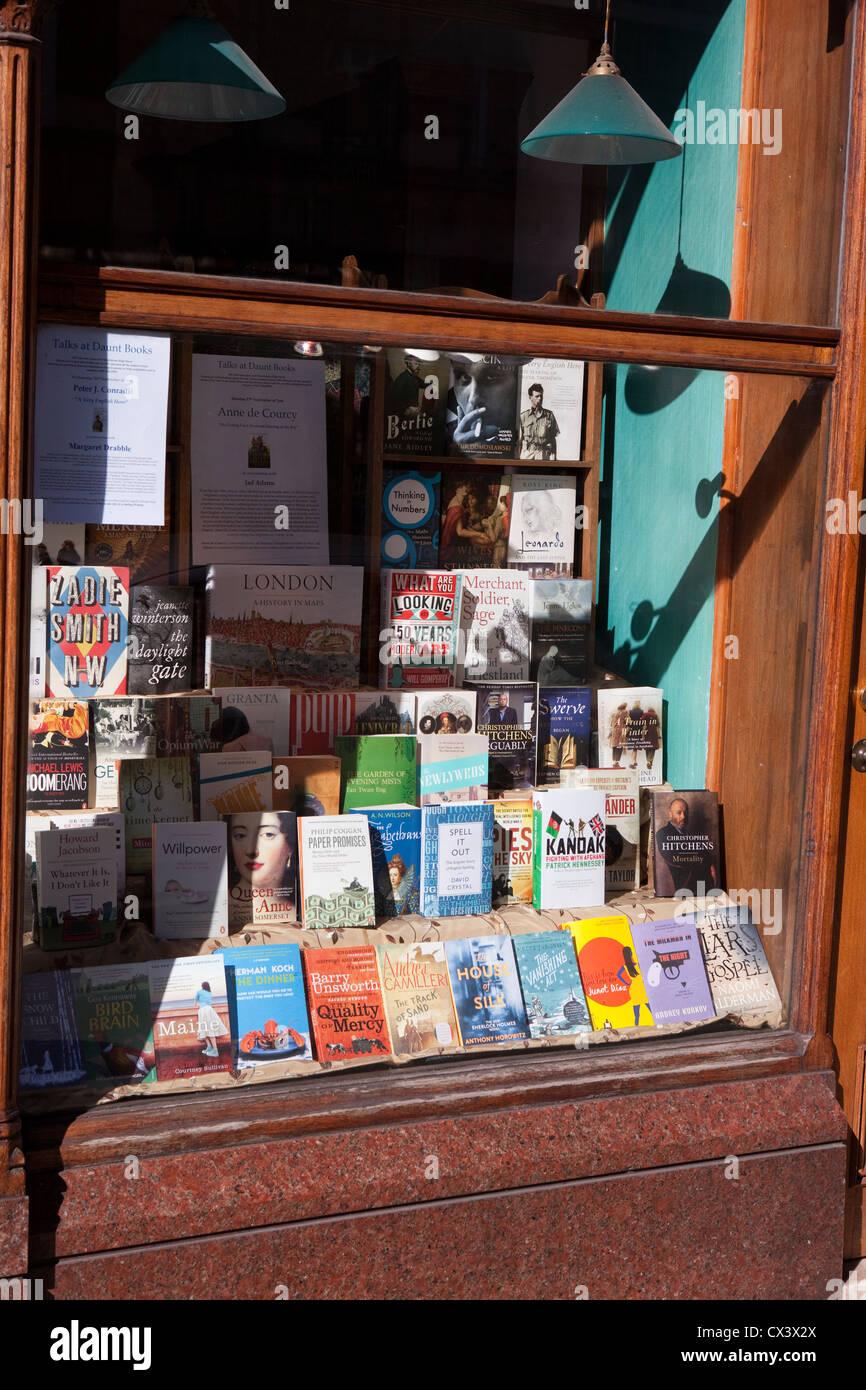 Bookstore window in Marylebone, London - Stock Image