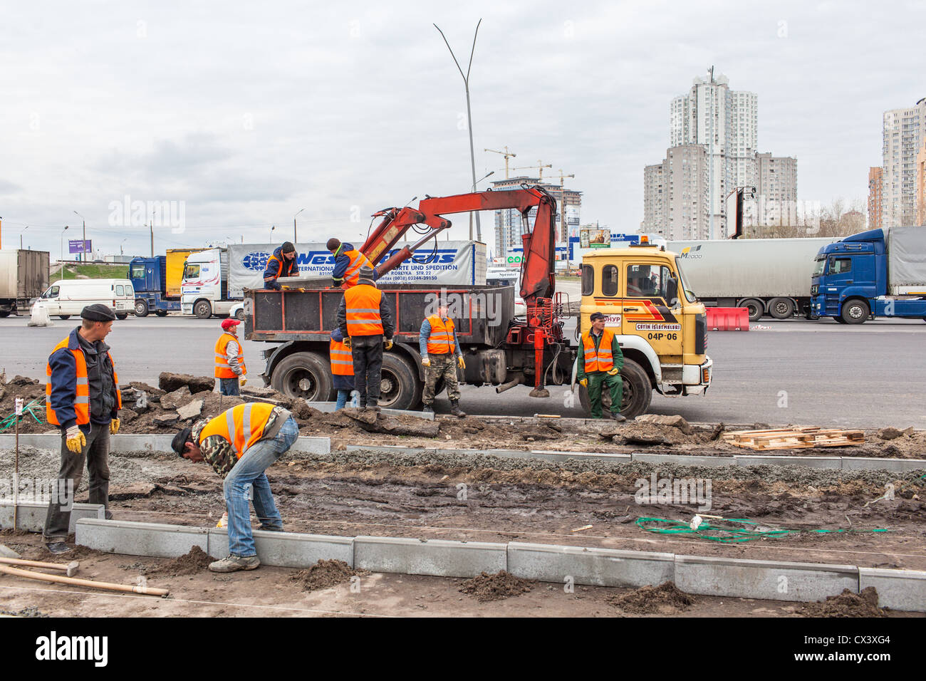 Road construction in Kiev, Ukraine, Eastern Europe. - Stock Image