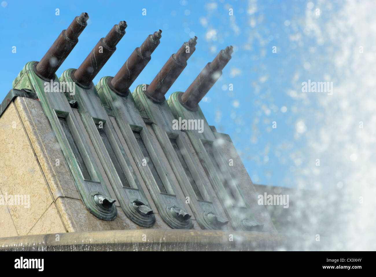 Close up of water cannons, Trocadero, Paris, France - Stock Image