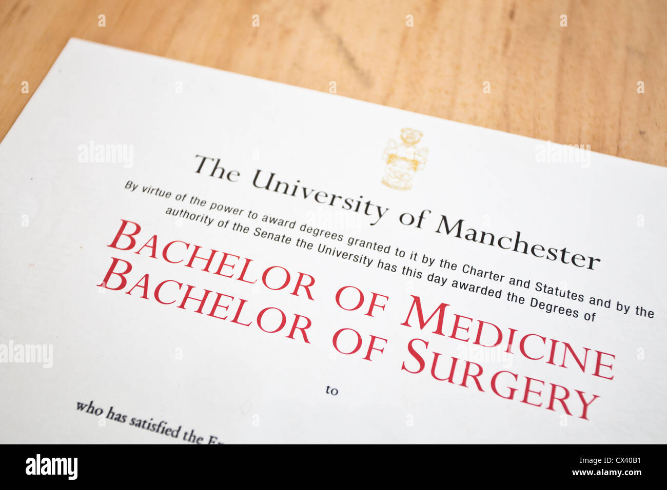 Medical degree certificate from Manchester University, UK