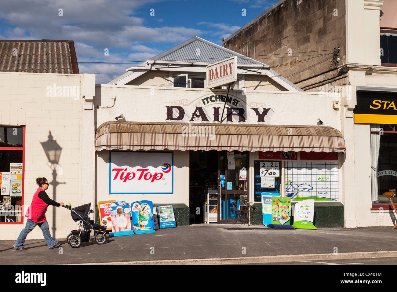Itchen Street Dairy, the New Zealand corner shop, Oamaru, Otago. - Stock Image