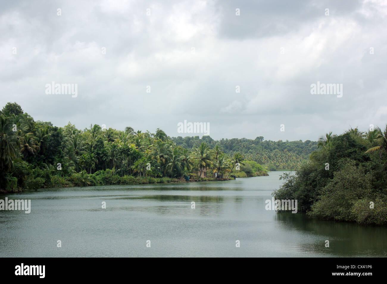 A panoramic view of Astamudi Lake, lagoon, backwaters Kerala, India, South India. - Stock Image