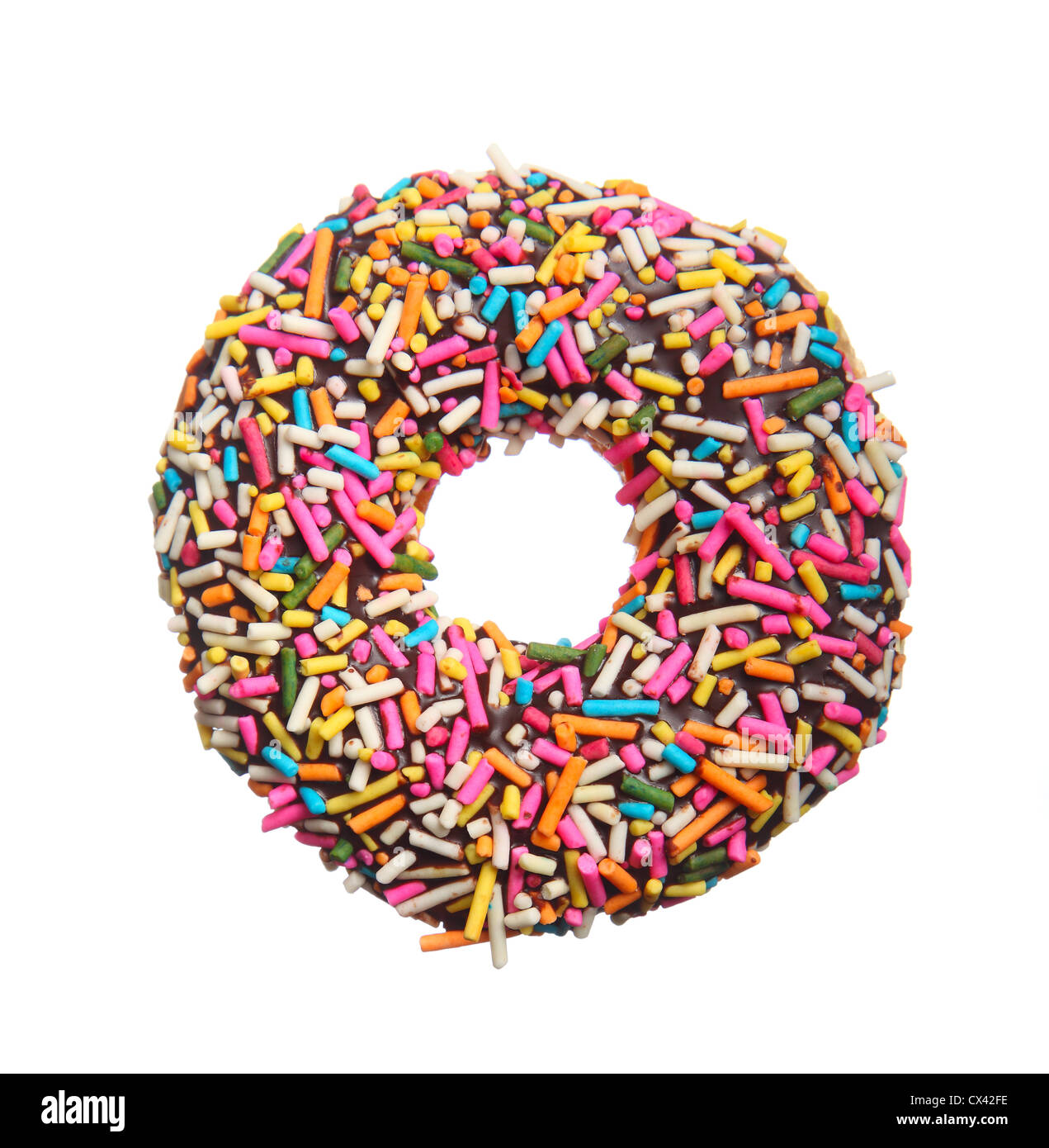 Colorful donut isolated on white background - Stock Image