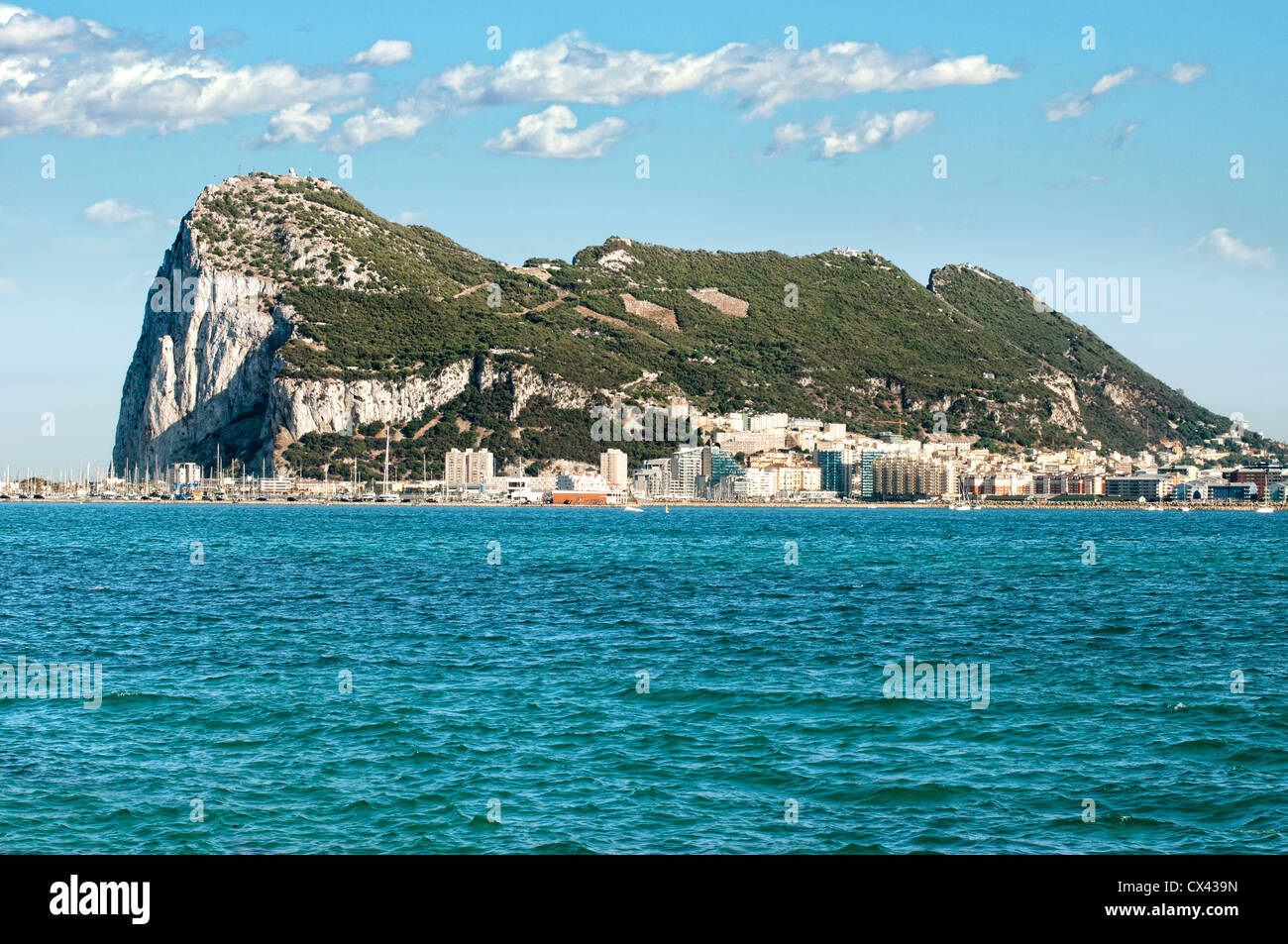 The rock of Gibraltar and the sea - Stock Image