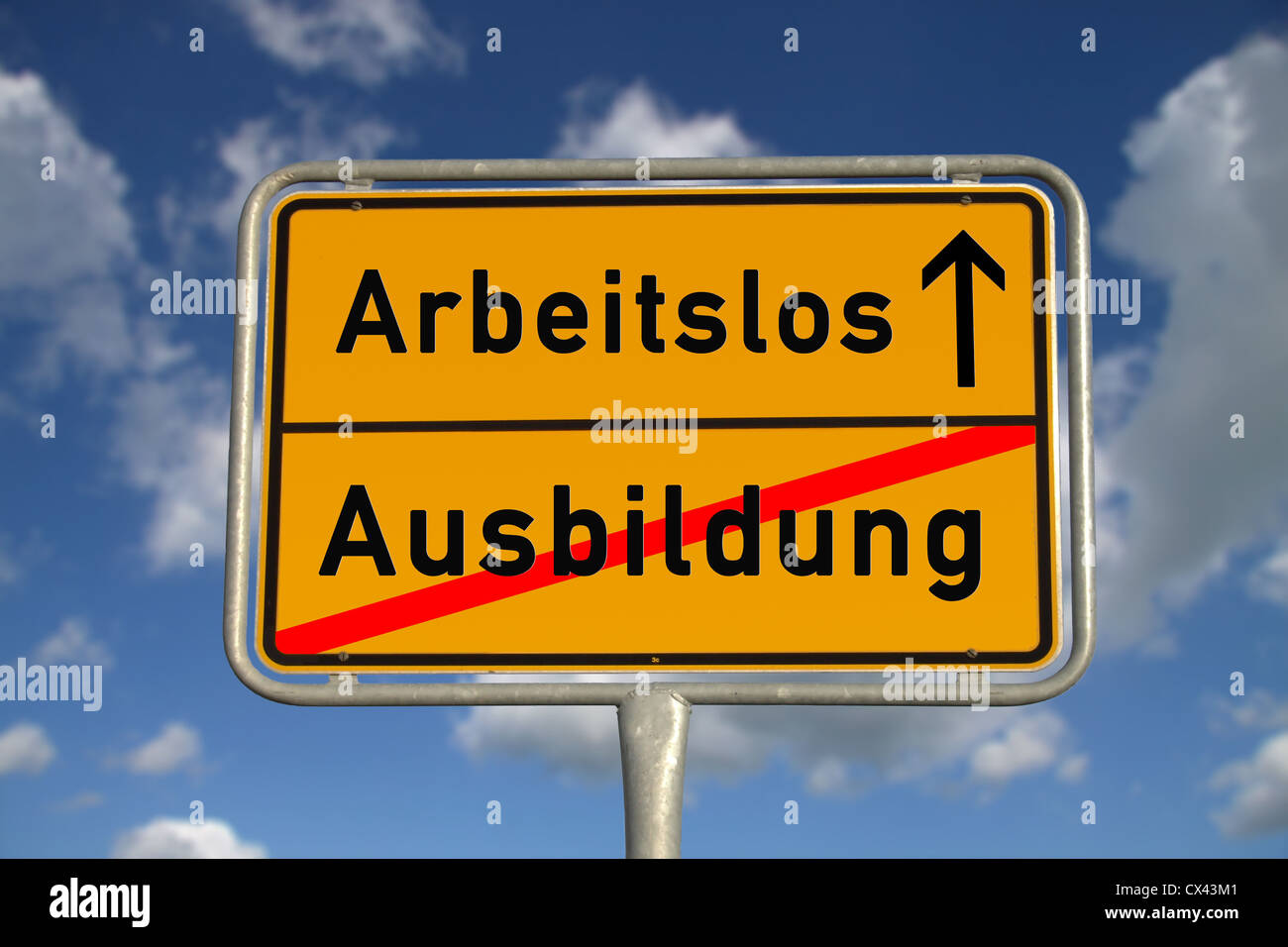 German road sign apprenticeship and unemployed with blue sky and white clouds - Stock Image