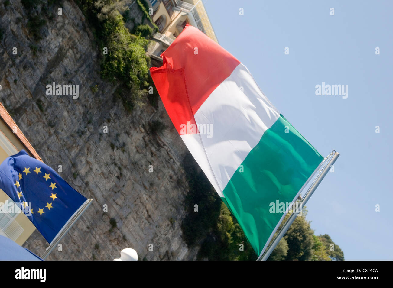 italy italian flag debt economy european euro zone eurozone tricolor - Stock Image