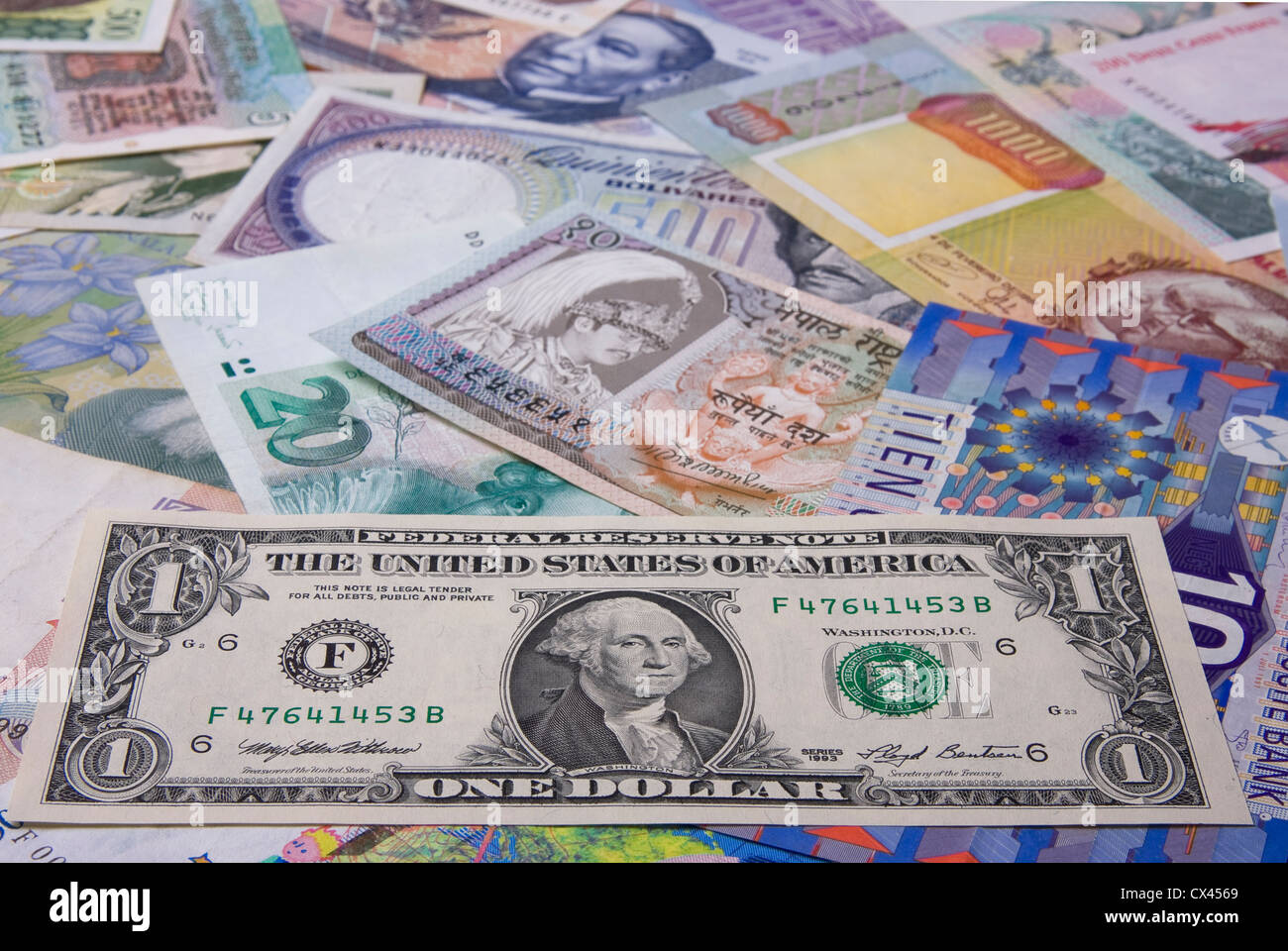 Financial background - Assortment of banknote (Focus on the Dollar) - Stock Image