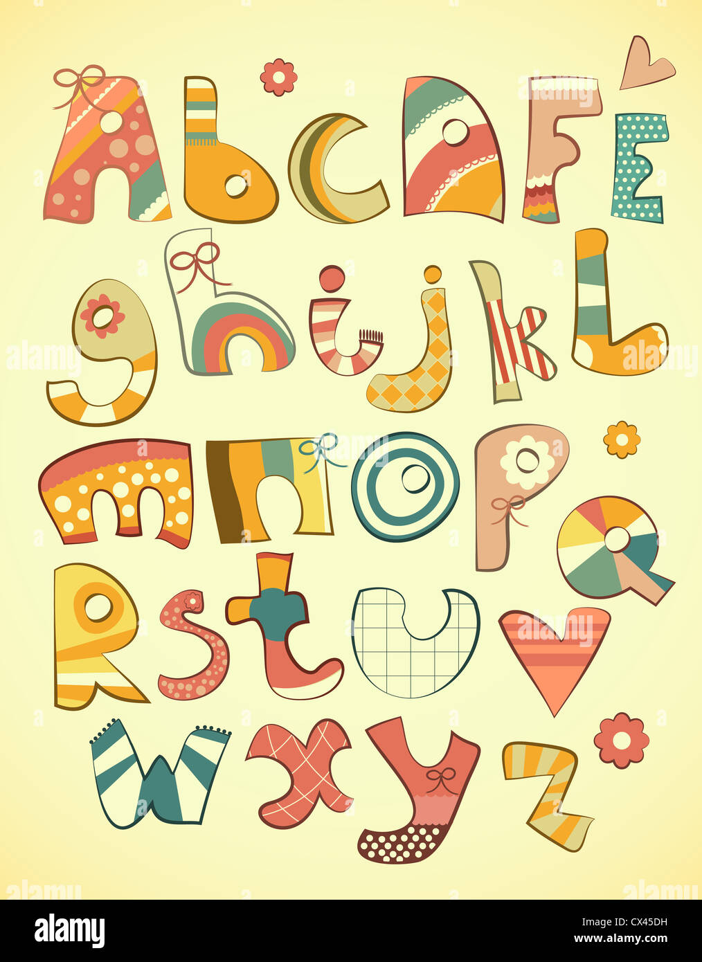 Alphabet design in fun doodle style letters A-Z - illustration Stock