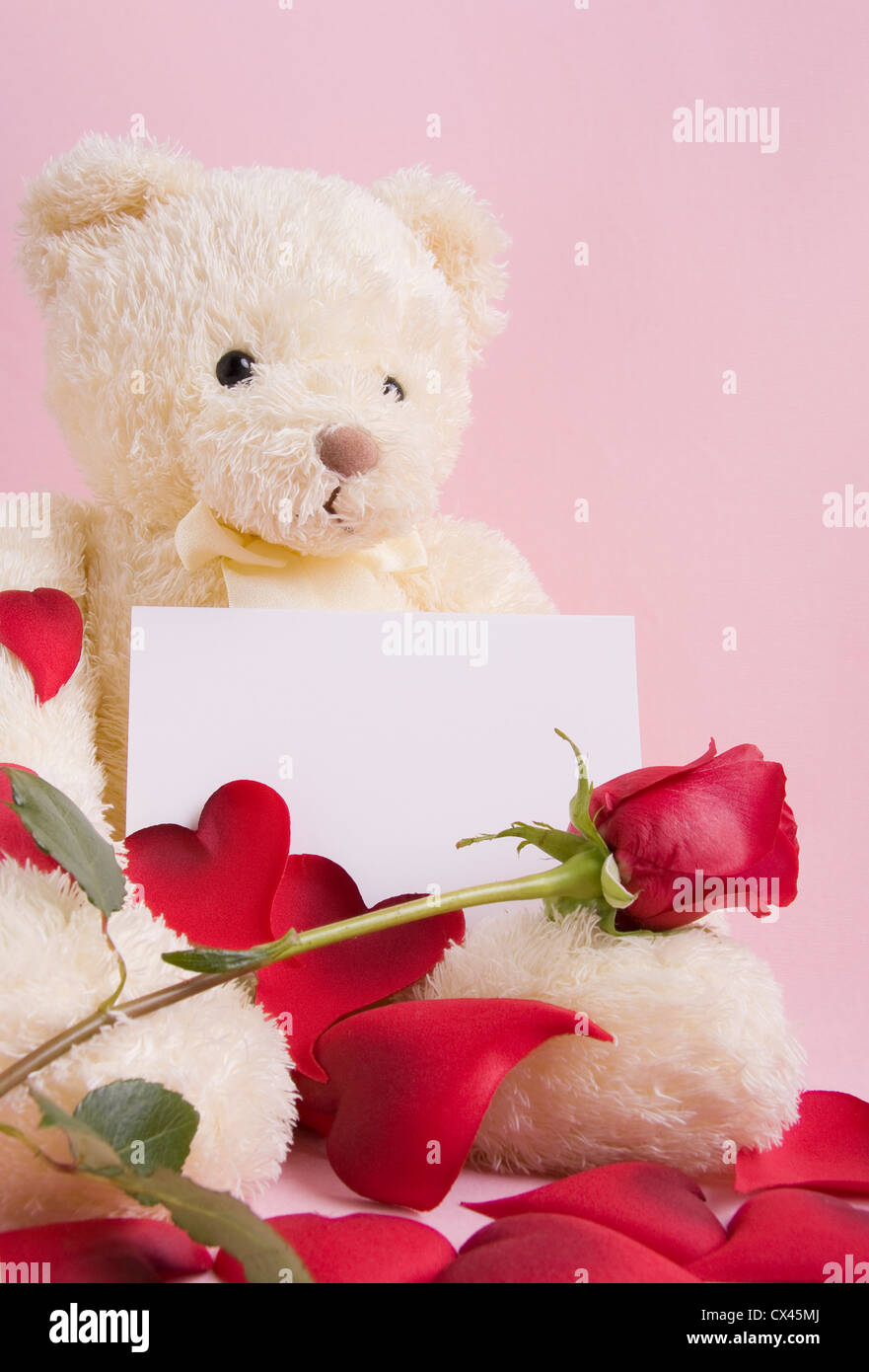 Teddy bear red rose stock photos teddy bear red rose stock images valentine concept a beautiful bear with roses and a card with space for text izmirmasajfo