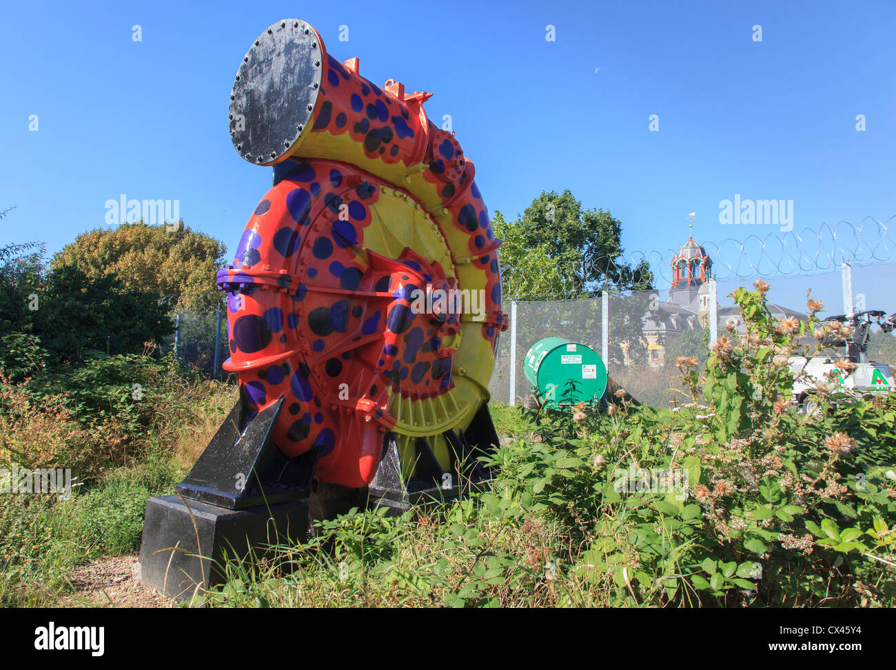 Freshly painted old sewage pump near Abbey Mills Pumping Station Stratford East London - Stock Image