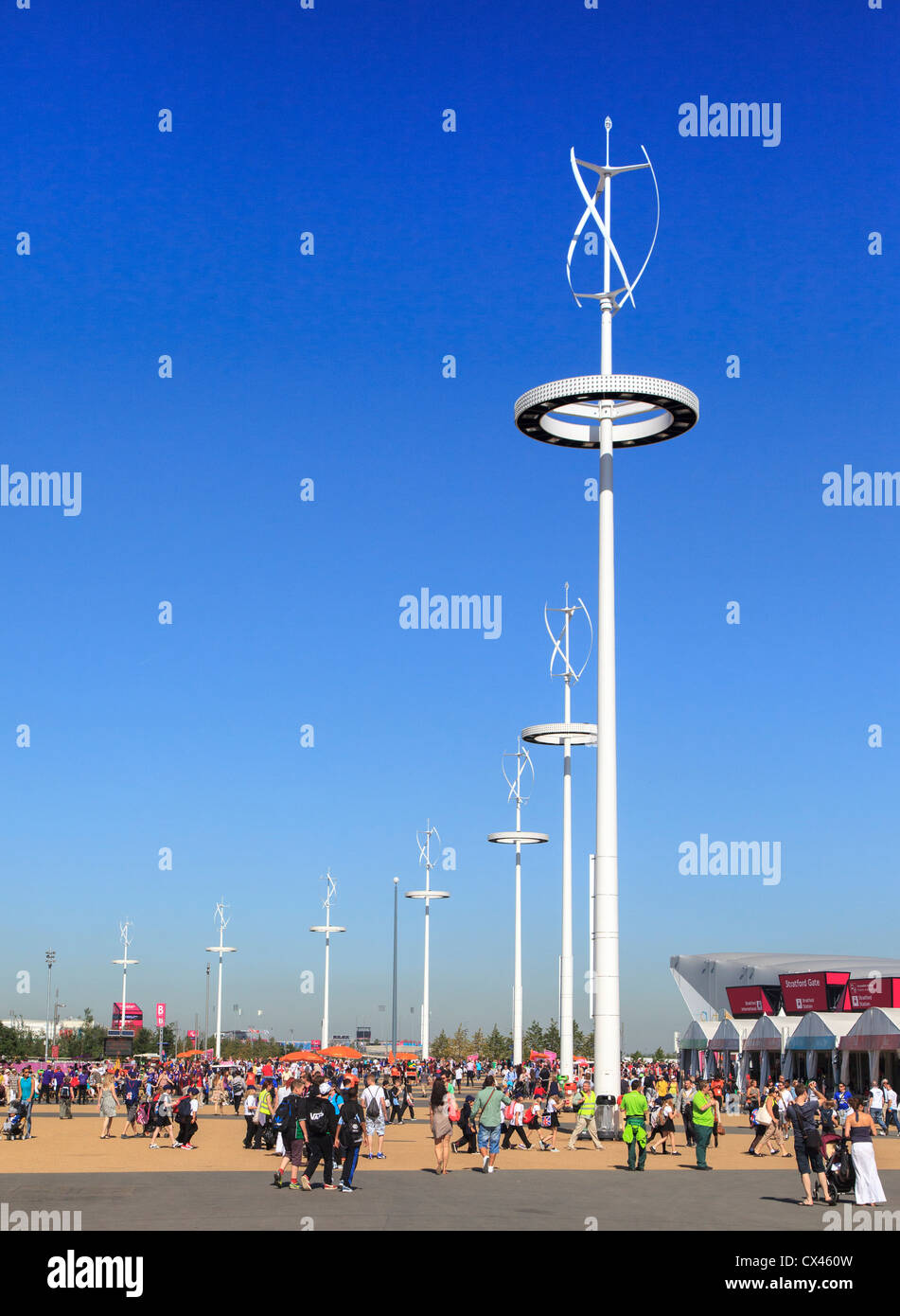 Wind turbines in the Olympic Park London - Stock Image