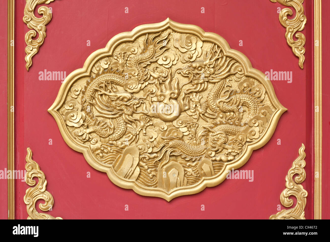 dragon frame, decoration chainese style for window in temple Stock ...