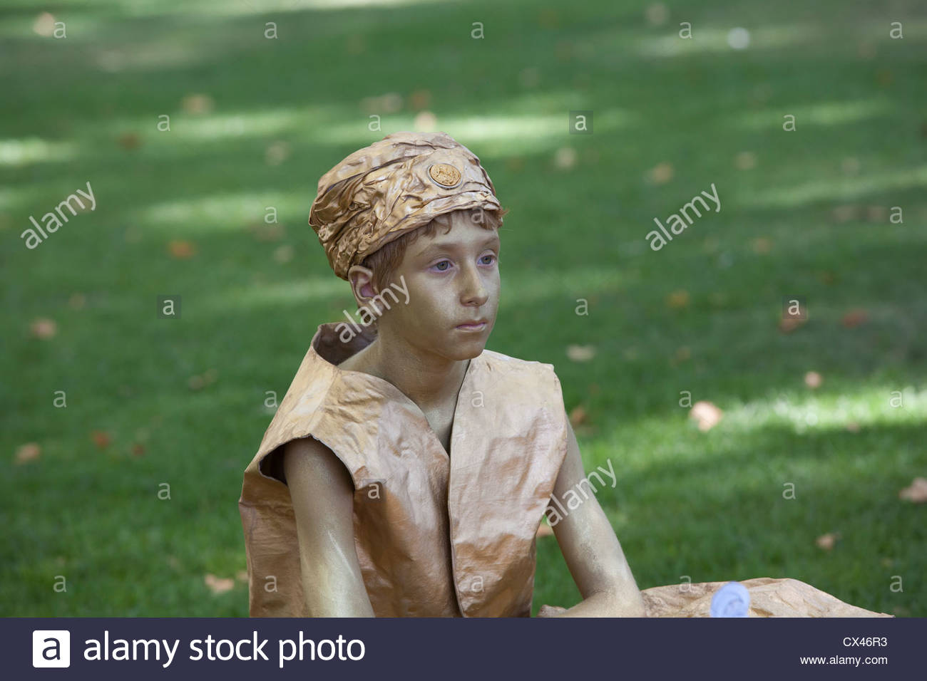Living statue from the living statue festival in Tomar, Central Portugal. - Stock Image