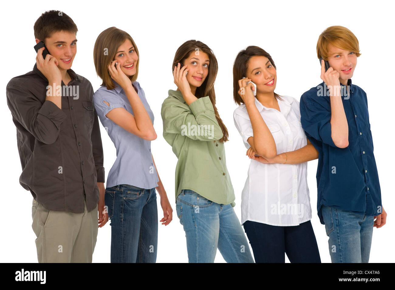teenagers,smartphone - Stock Image