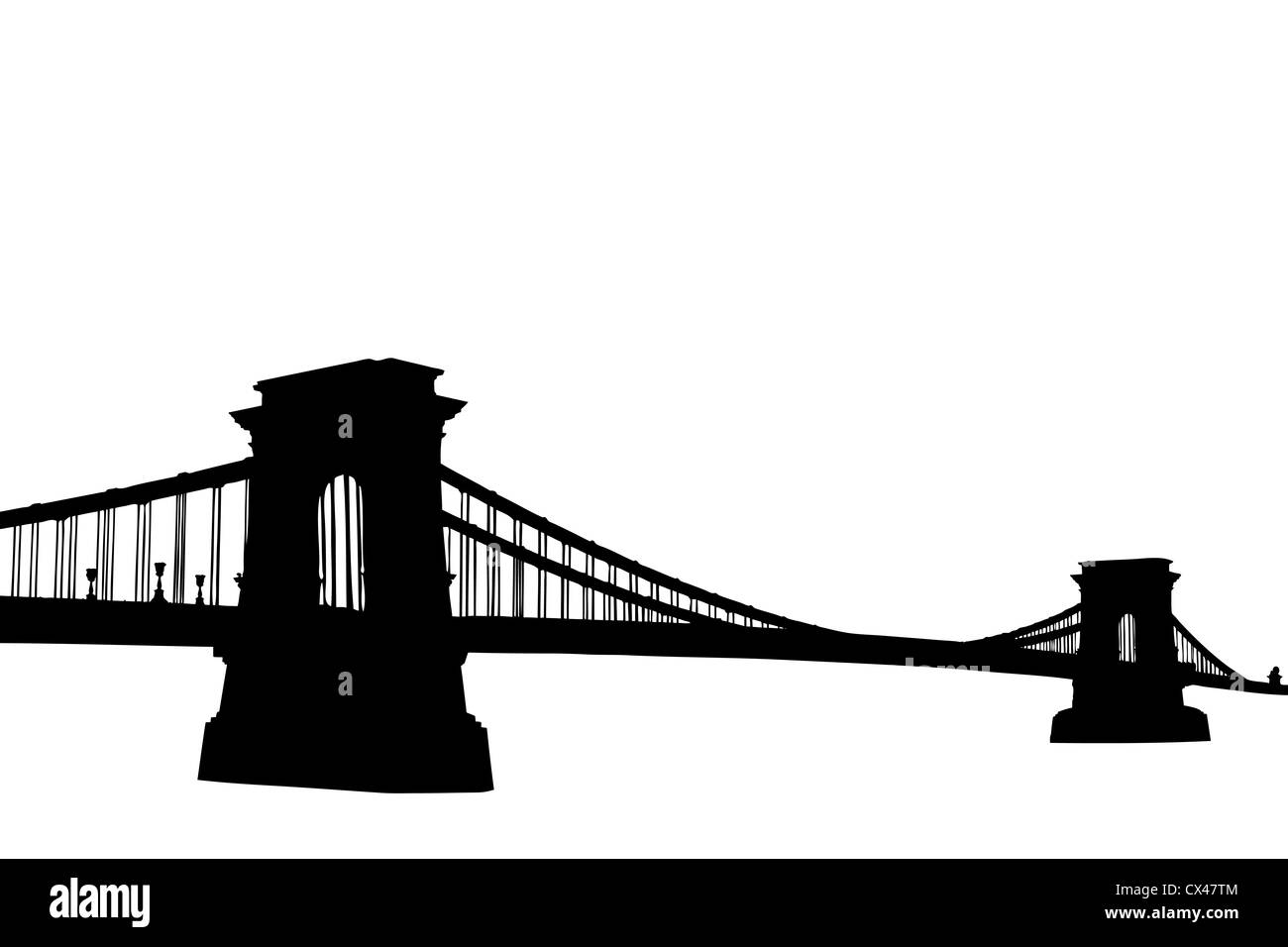 A silhouette of a Chain bridge (Szechenyi Lanchid) in Budapest, Hungary, isolated on white background - Stock Image
