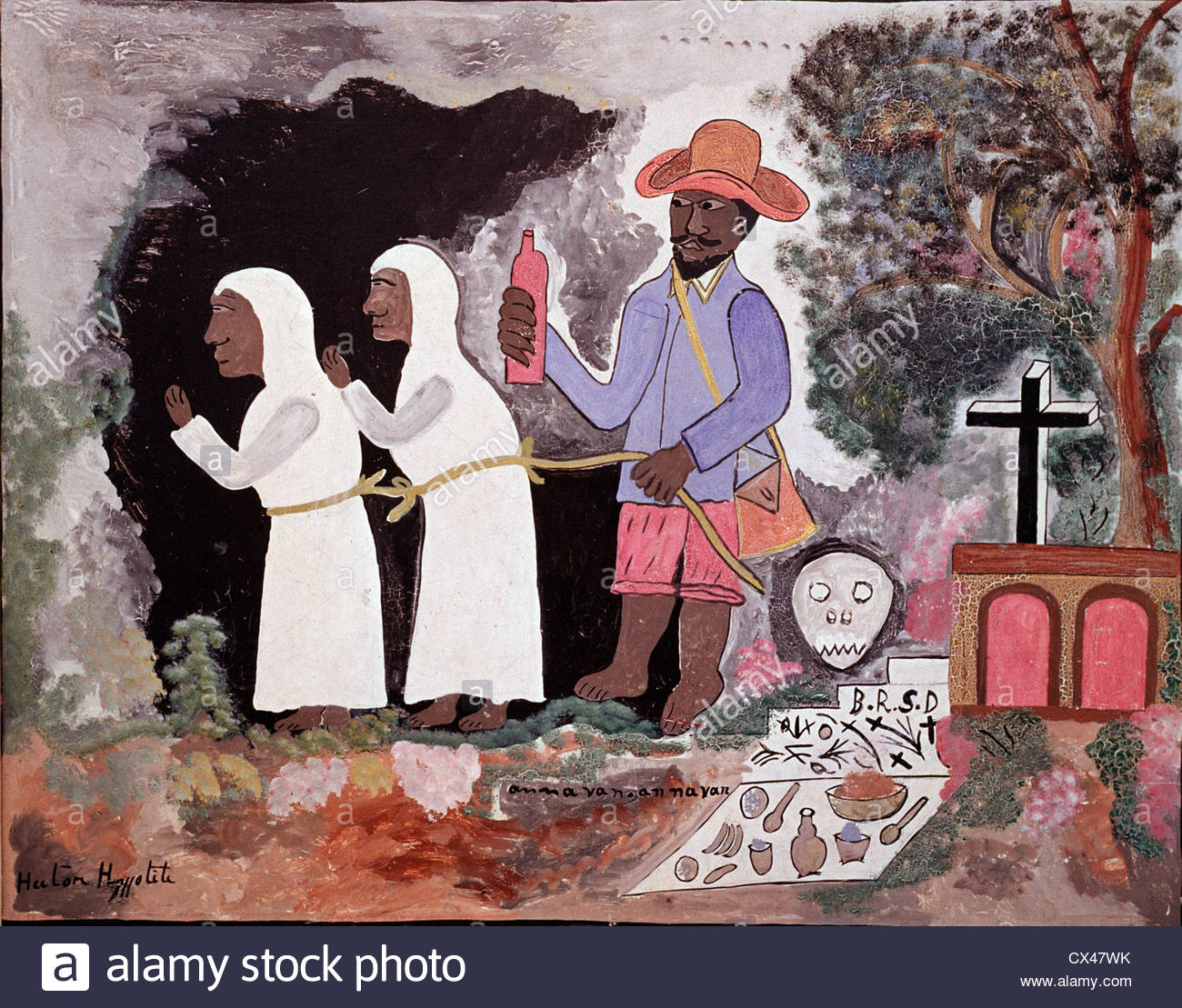 Haiti naive painting by Hector Hyppolite 'The Zombies', the living Dead in Haitian voodoo, Port-au-Prince - Stock Image
