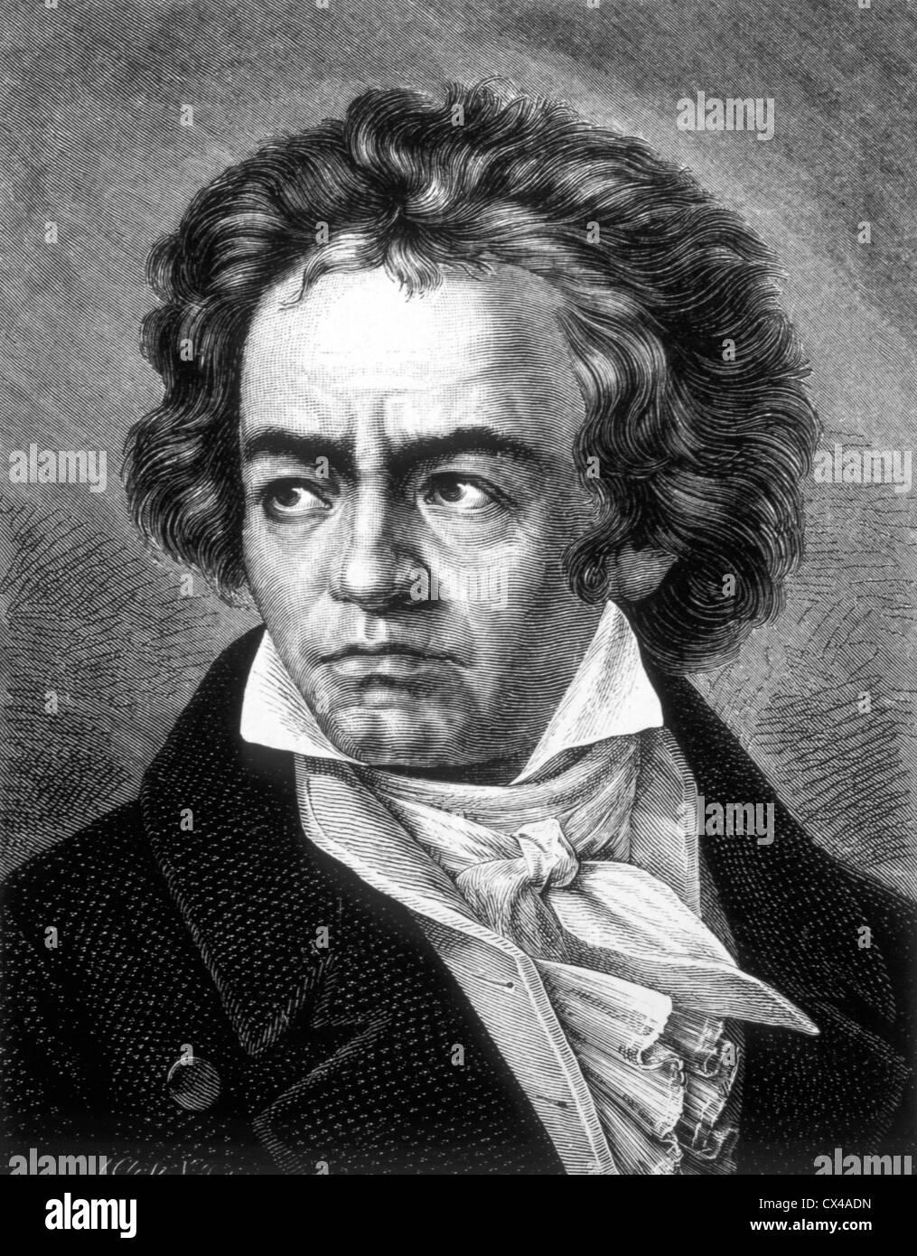 Ludwig van Beethoven, German Composer, Engraving - Stock Image