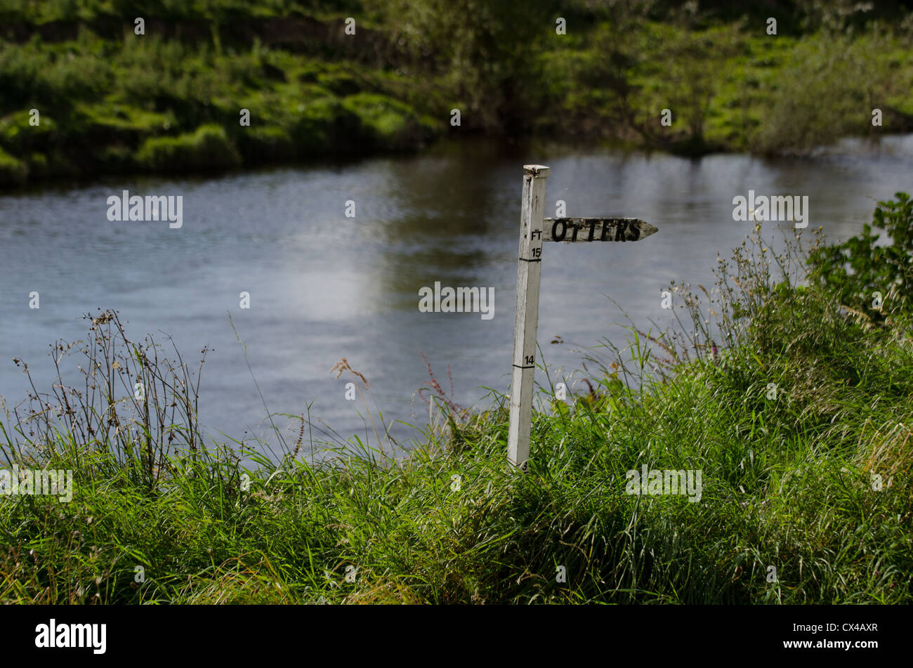 A sign for 'Otters' on the river bank of the Wye, in Witney on Wye. - Stock Image