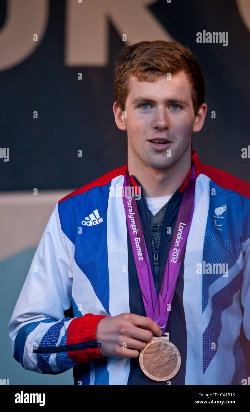 James Clegg,  Bronze Medal Paralympian swimmer in TeamGB at the homecoming for Scottish Olympians and Paralympians - Stock Image