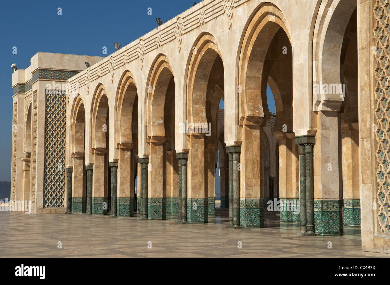 Arches at King Hassan II mosque in Casablanca, Morocco - Stock Image