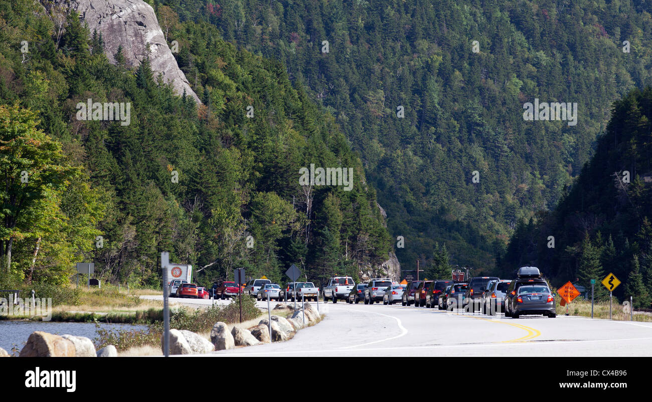 Traffic jam at Crawford Notch New Hampshire. Vacation traffic congestion. Stock Photo