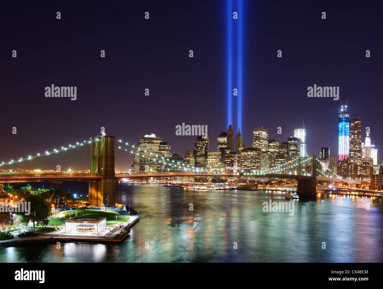 Tribute in Light in Downtown New York City in remembrance of the 9/11 attack. Stock Photo