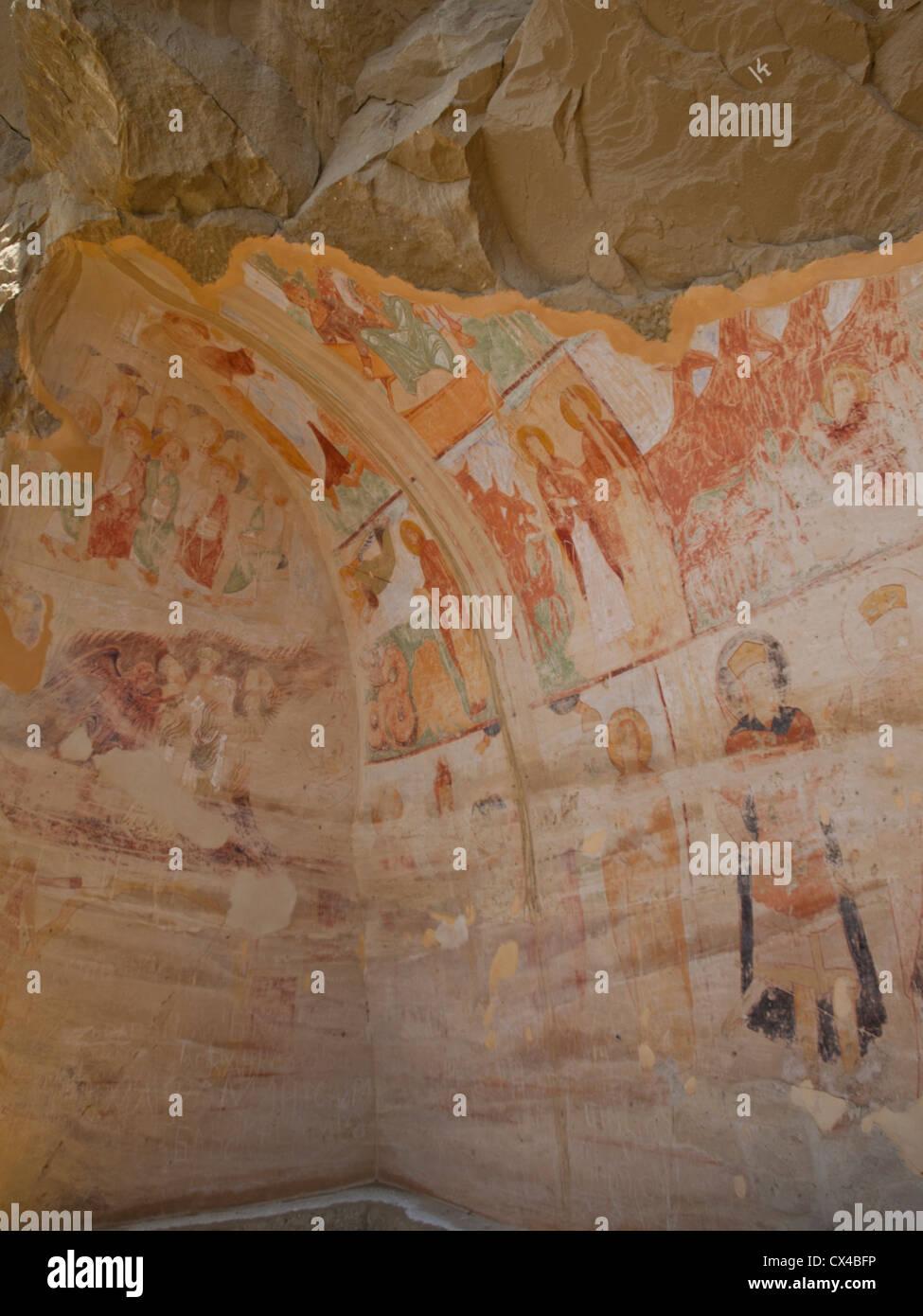 Udabno cave monastery part of Davit Gareja Stock Photo