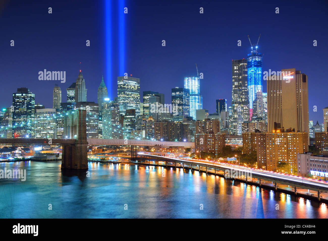 New York city and Tribute in light on 9/11. - Stock Image