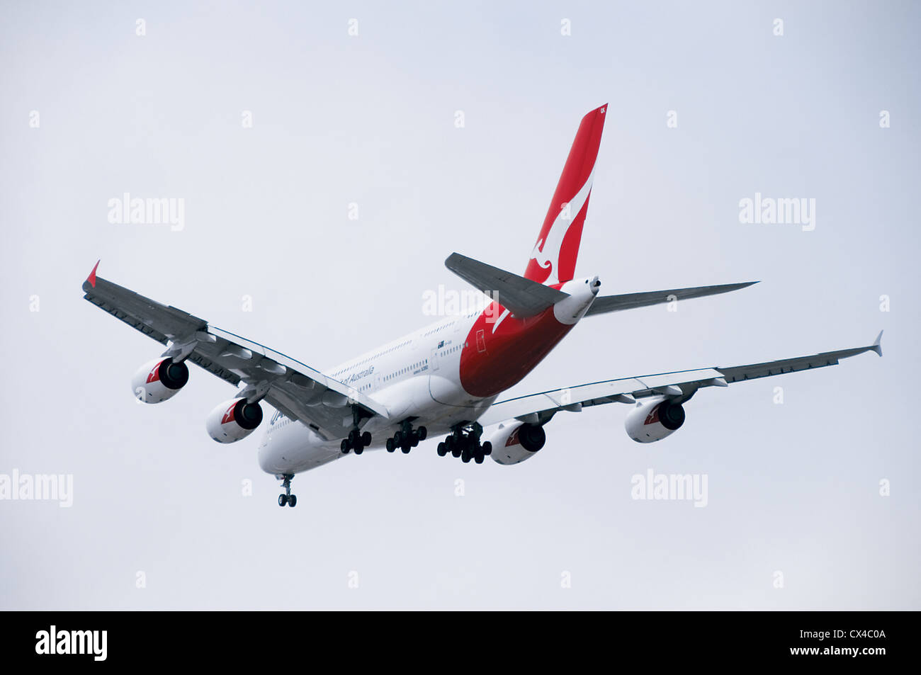 World's largest passenger jet landing at LAX in Los Angeles - Stock Image