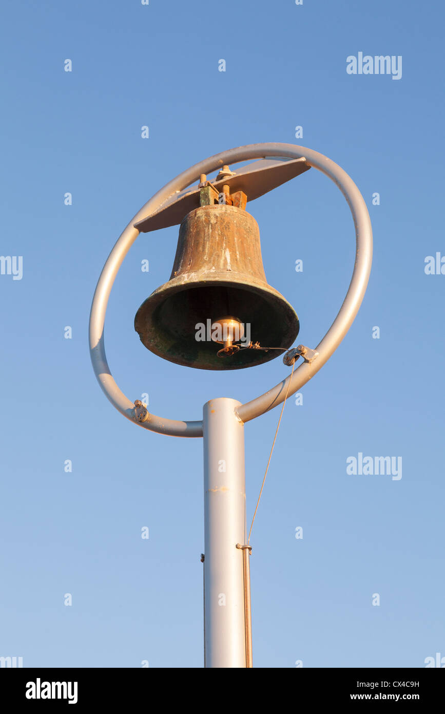 Shark warning bell, St Clair, Dunedin, Otago, New Zealand, - Stock Image