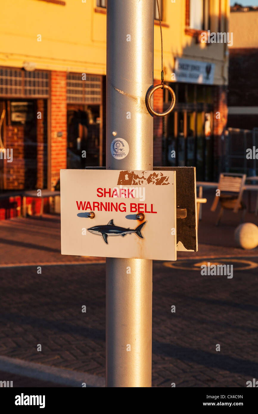 Shark warning bell, St Clair, Dunedin, Otago, New Zealand, Stock Photo