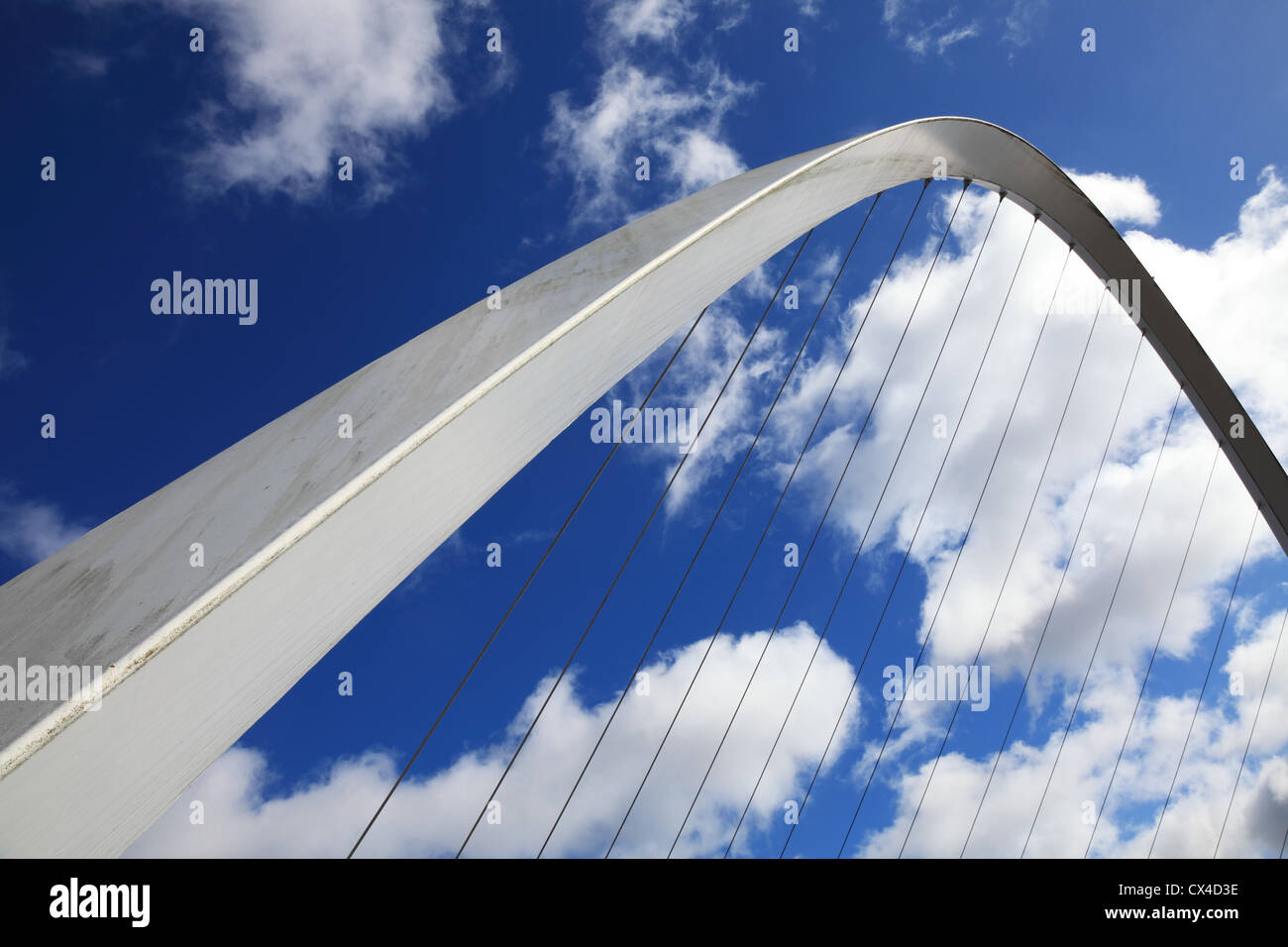 Detail or abstract view of the Gateshead Millennium bridge North East England UK - Stock Image