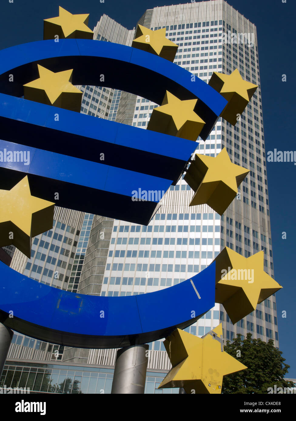 Large Euro sign outside headquarters of European Central Bank (ECB) in Frankfurt Germany - Stock Image