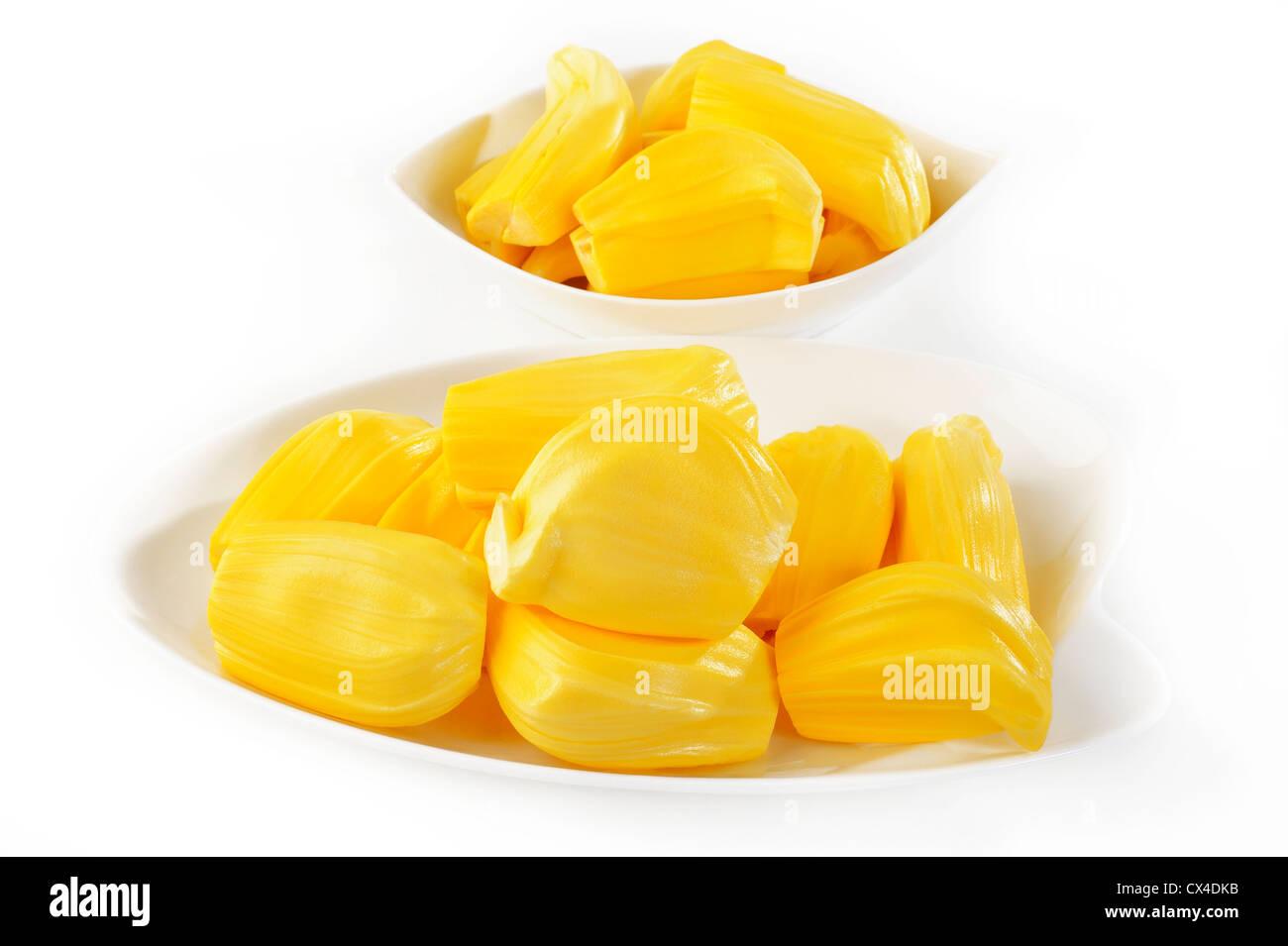 sweet jackfruit on white - Stock Image
