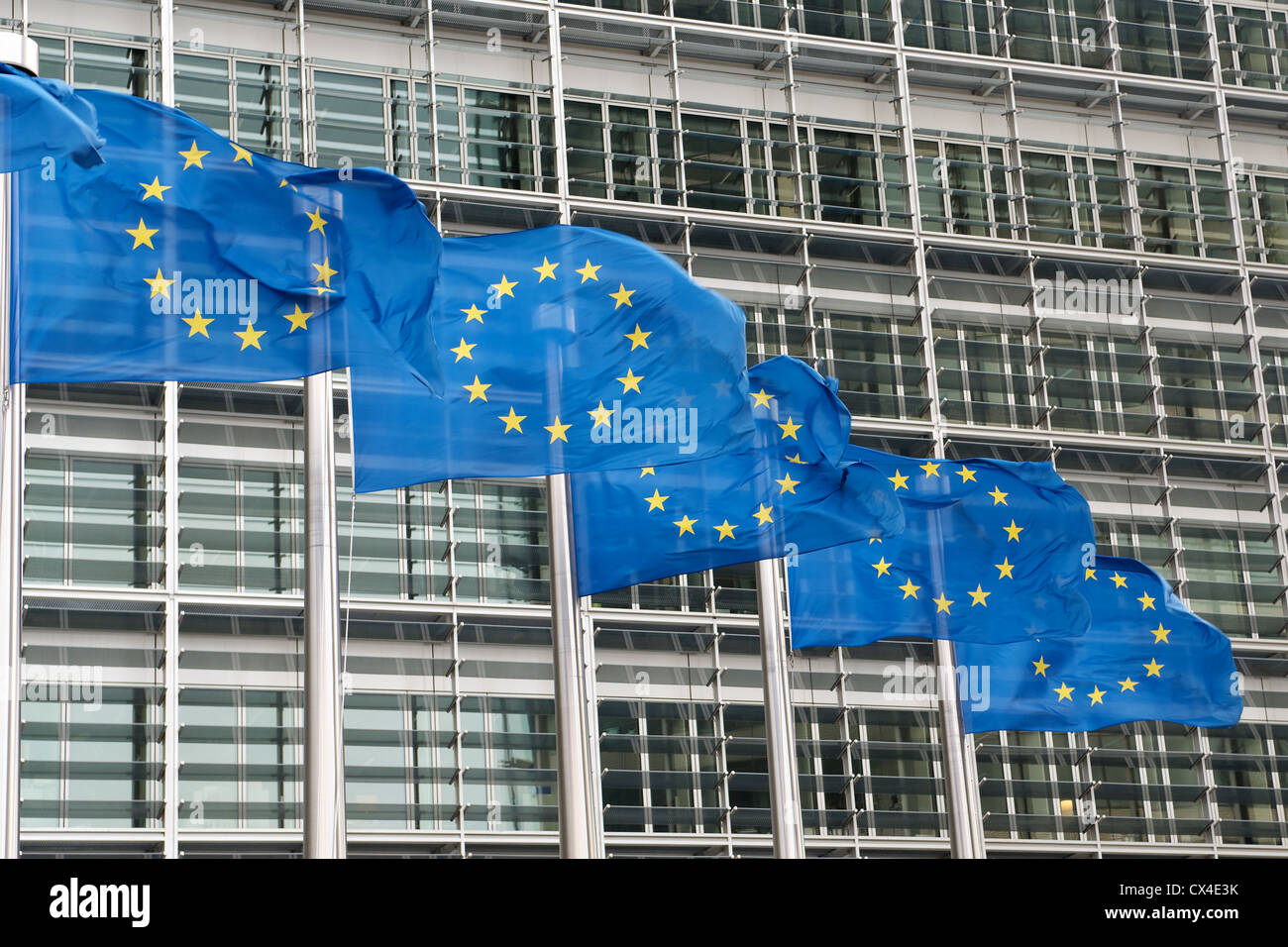 European Union flags outside European Commission building at Berlaymont in Brussels, Belgium Stock Photo