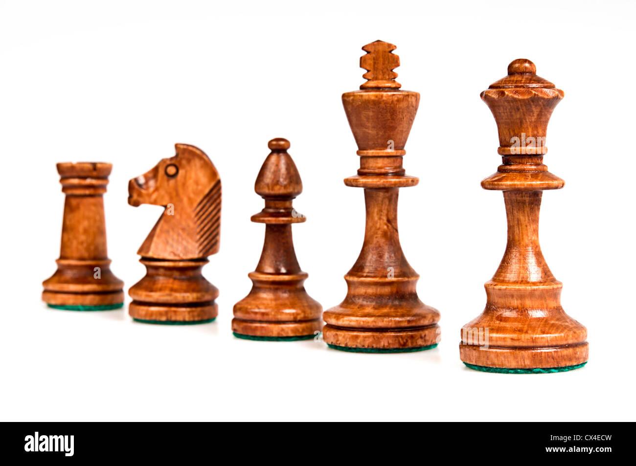 set of Staunton chess pieces - Stock Image