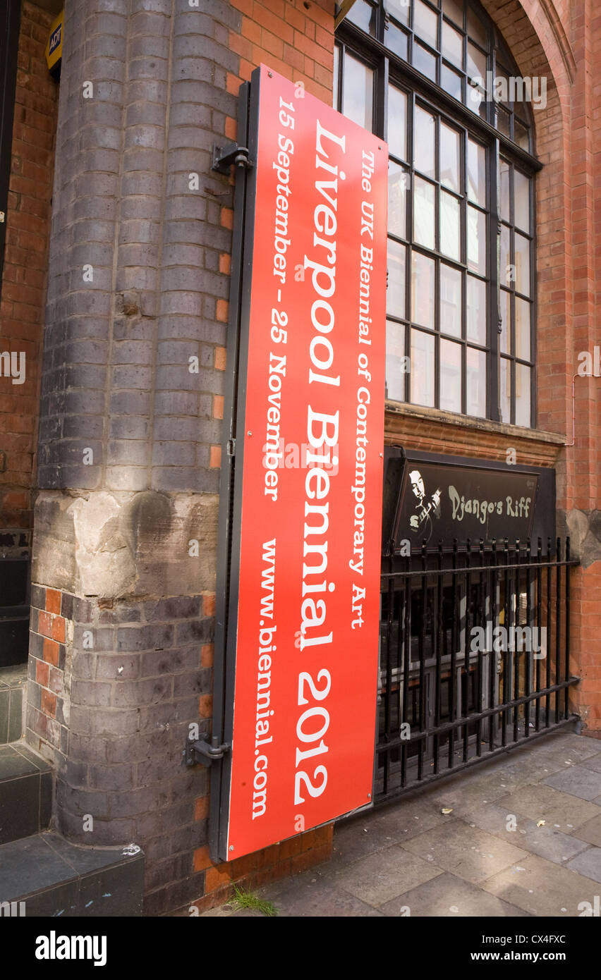 Liverpool Biennial 2012 advertisements and signs showing exhibits - Stock Image
