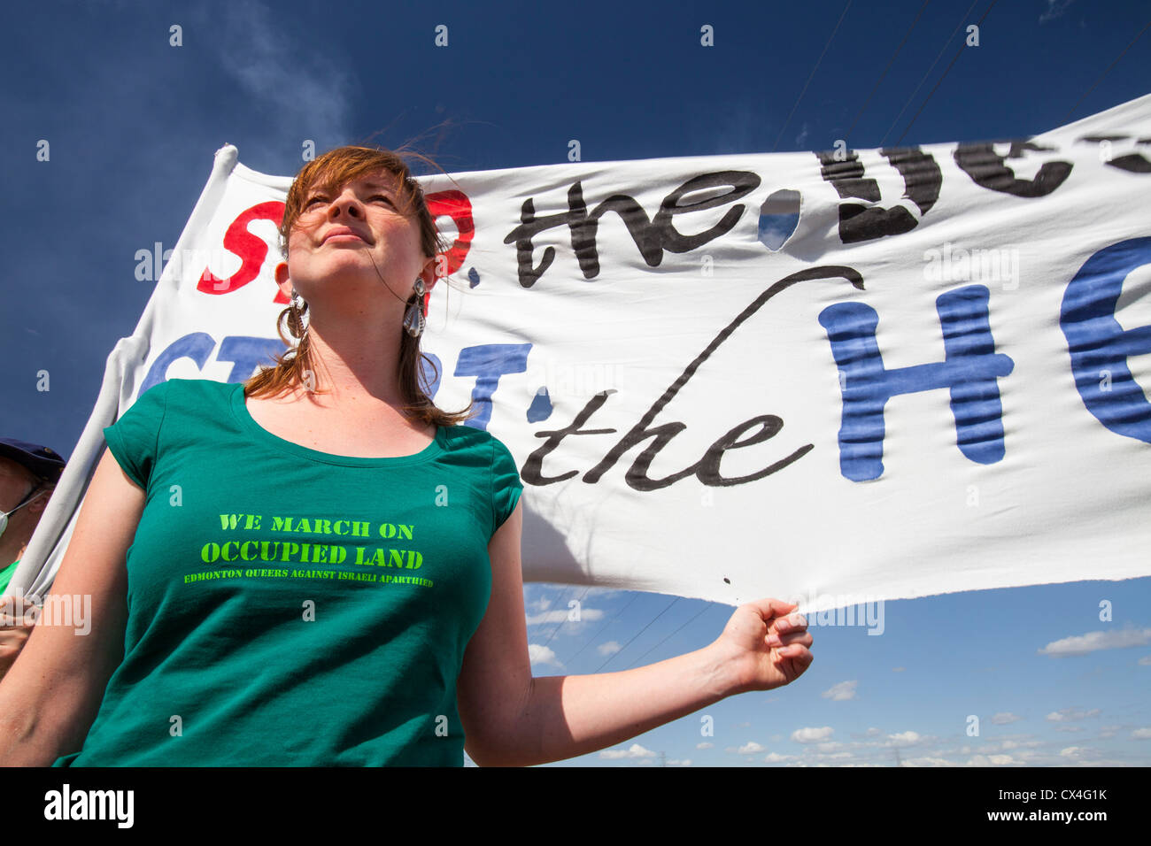 First Nation Canadians protest against the destruction and pollution of the Tar Sands industry at the 4th annual - Stock Image