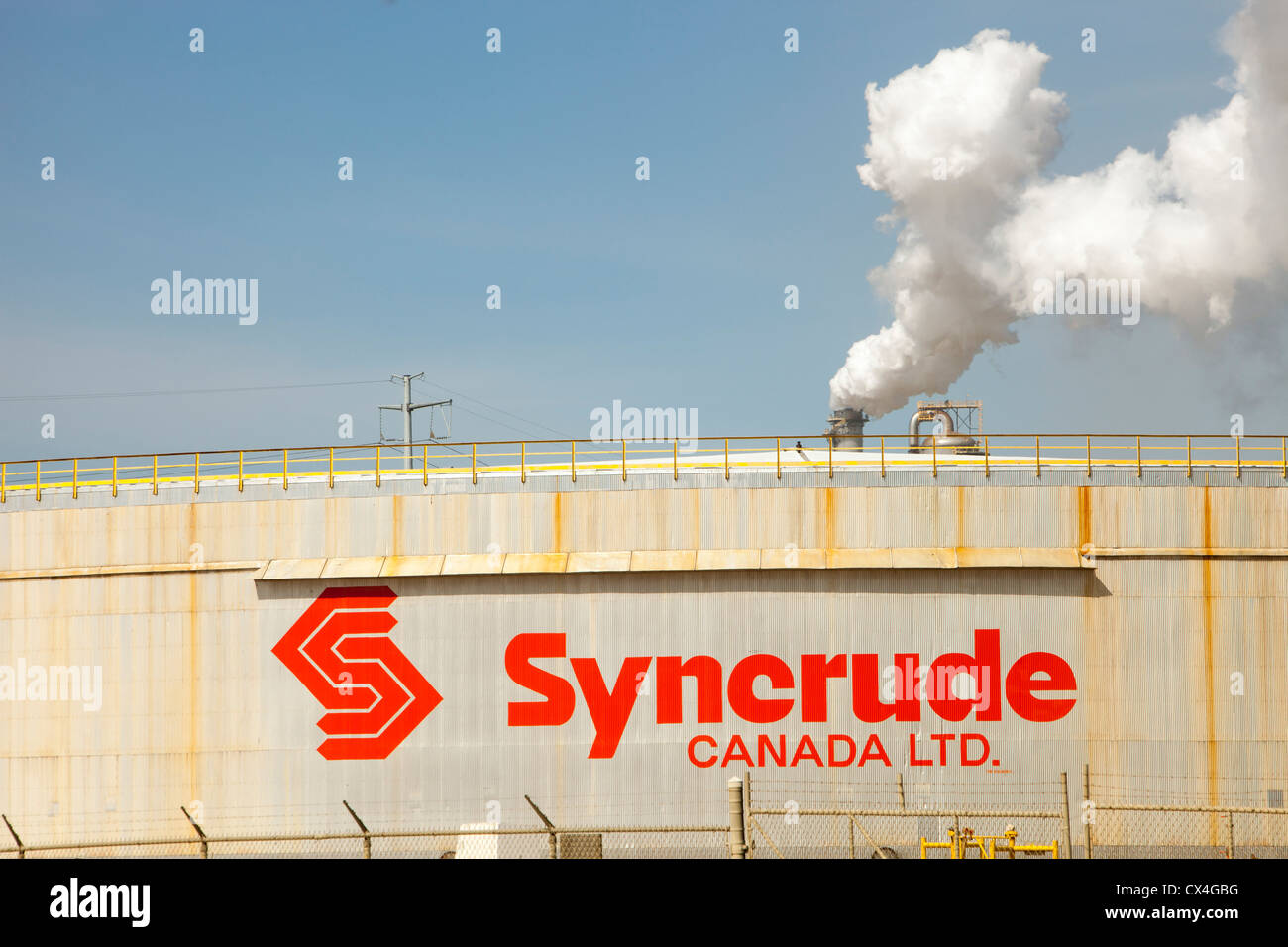 The Syncrude upgrader plant. The tar sands are the largest industrial project on the planet, and the world's - Stock Image