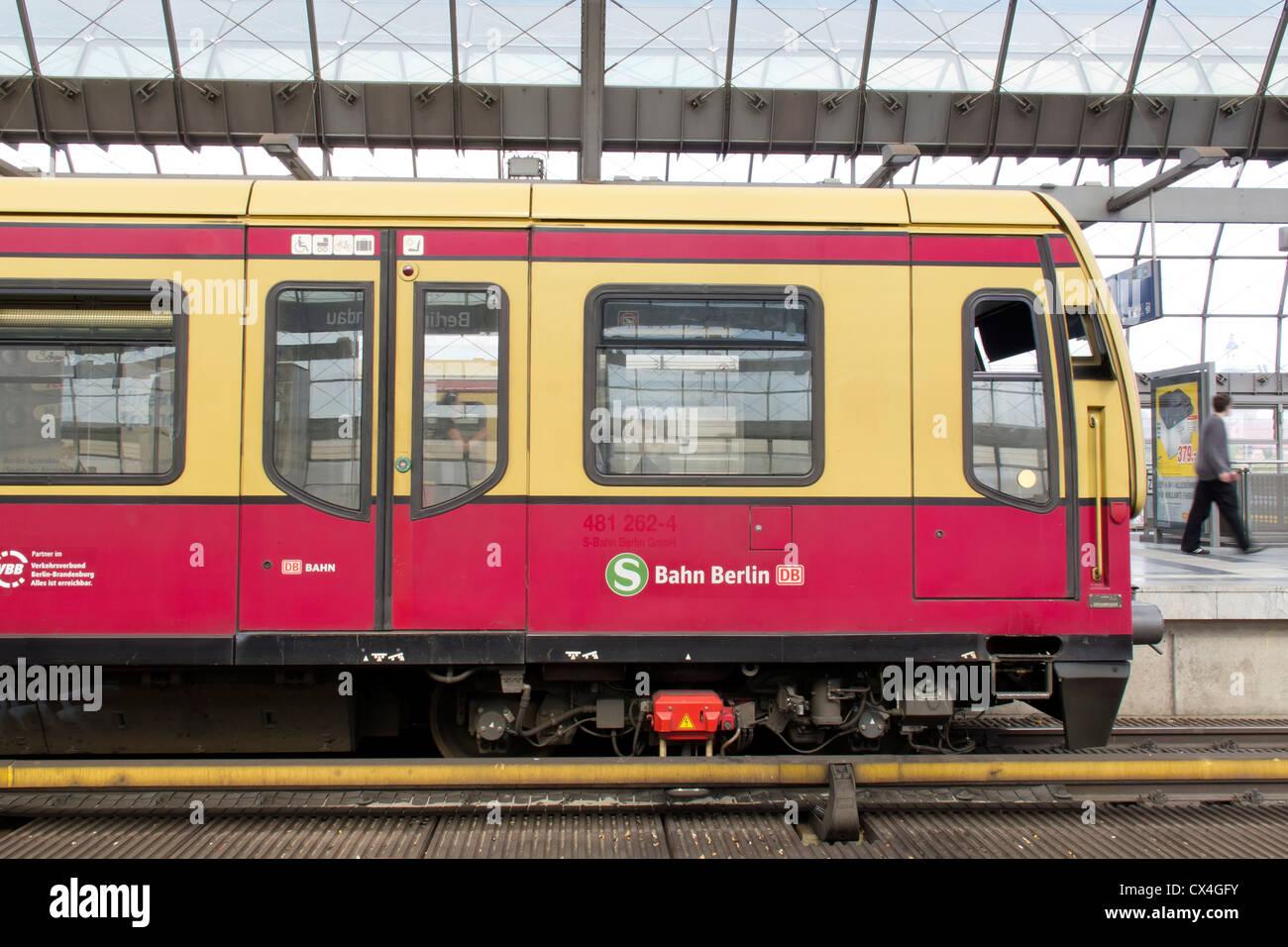 The German Railway in Berlin – Spandau an S Bahn suburban train in a German station Stock Photo