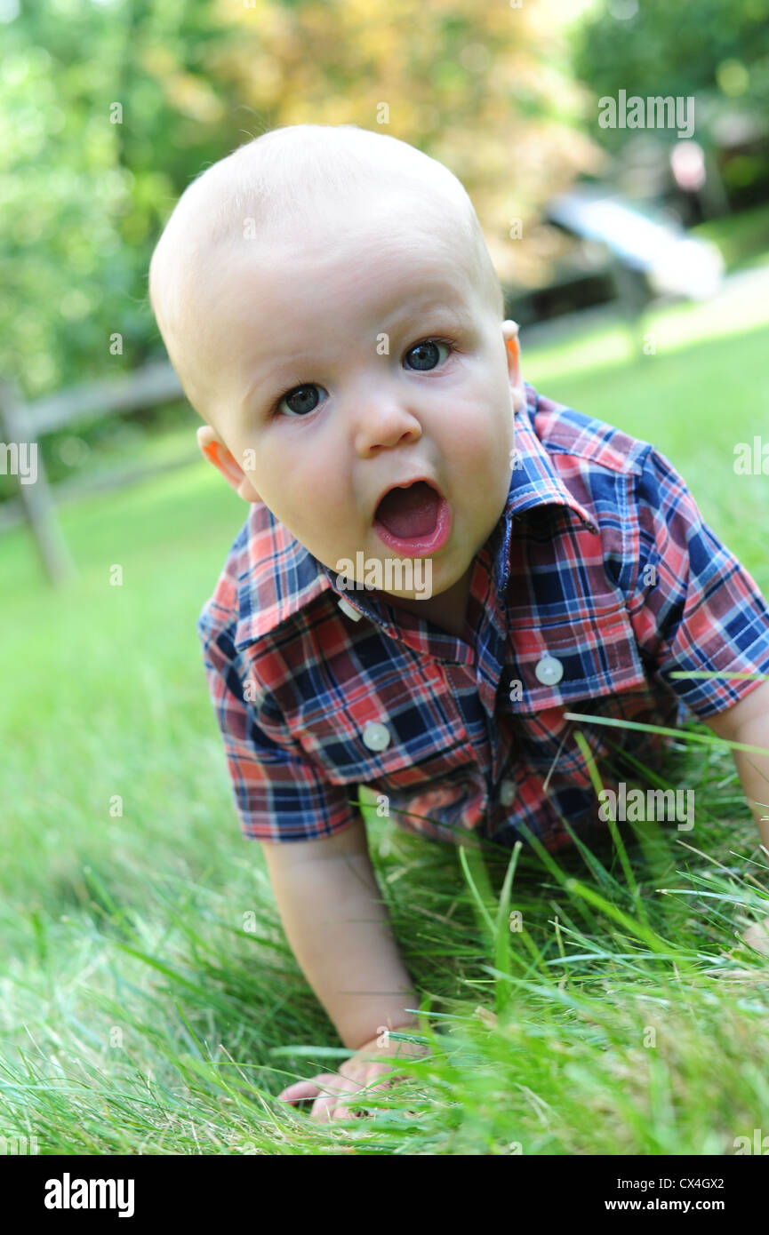 White Caucasian baby crawling in grass in summer 7 months old look of surprise delight joy wonder - Stock Image