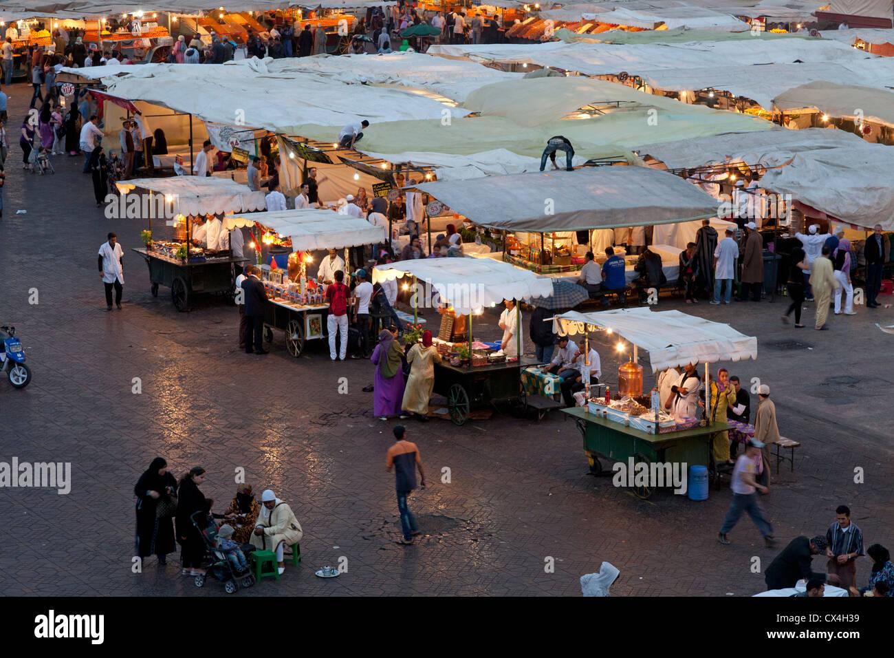 Food stalls at the Jamaa el Fna market Marrakesh, Morocco, April 1,2012 Stock Photo