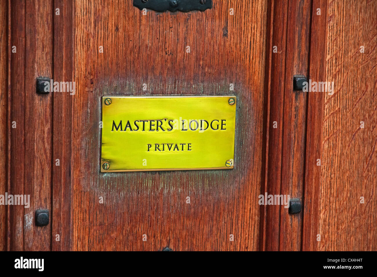 Sign on door of Master's Lodge - Stock Image