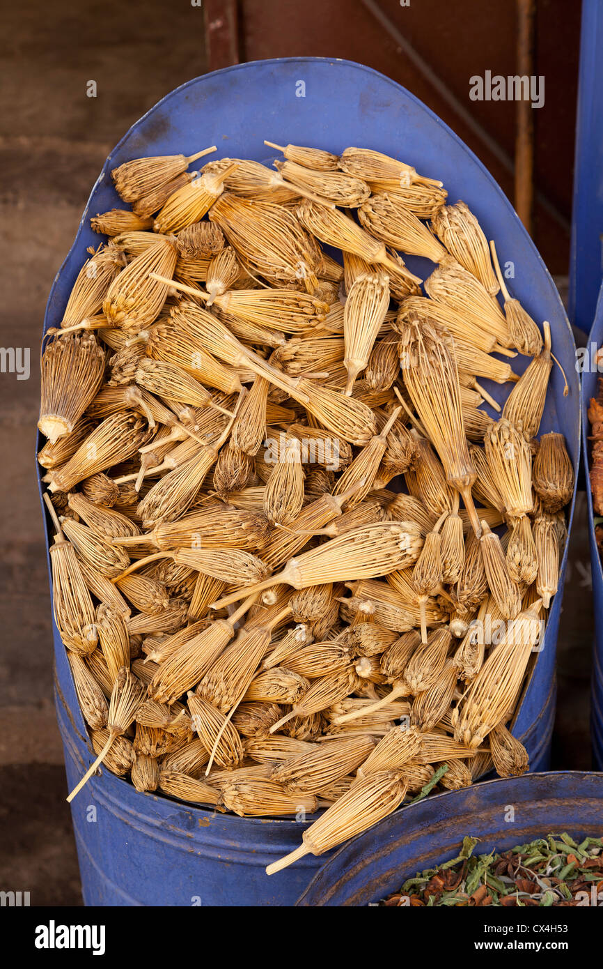 Dried herbs on the market in Marrakesh, Morocco - Stock Image