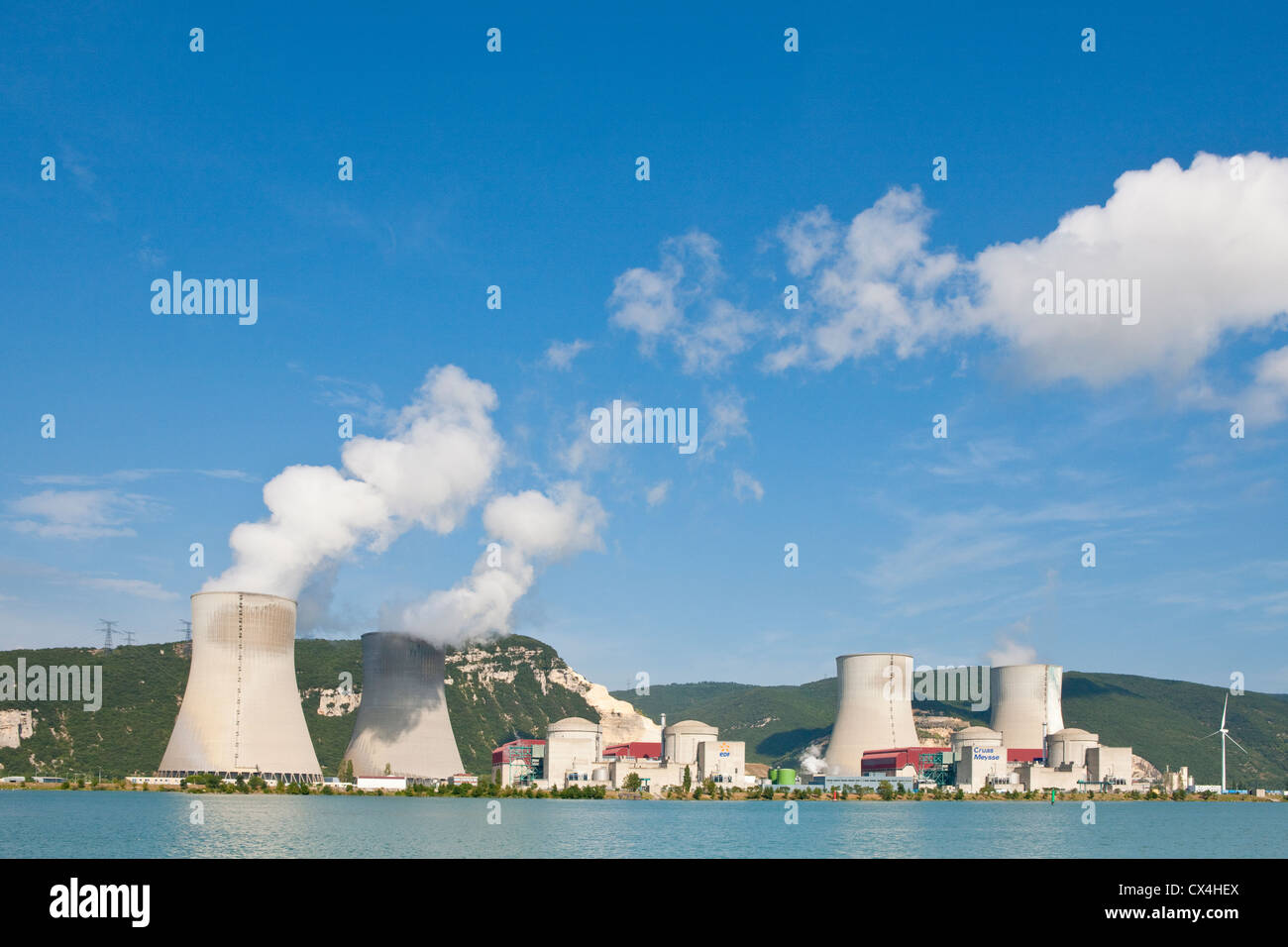 Cruas-Meysse Nuclear Power Plant near Rhône River in south of France - Stock Image