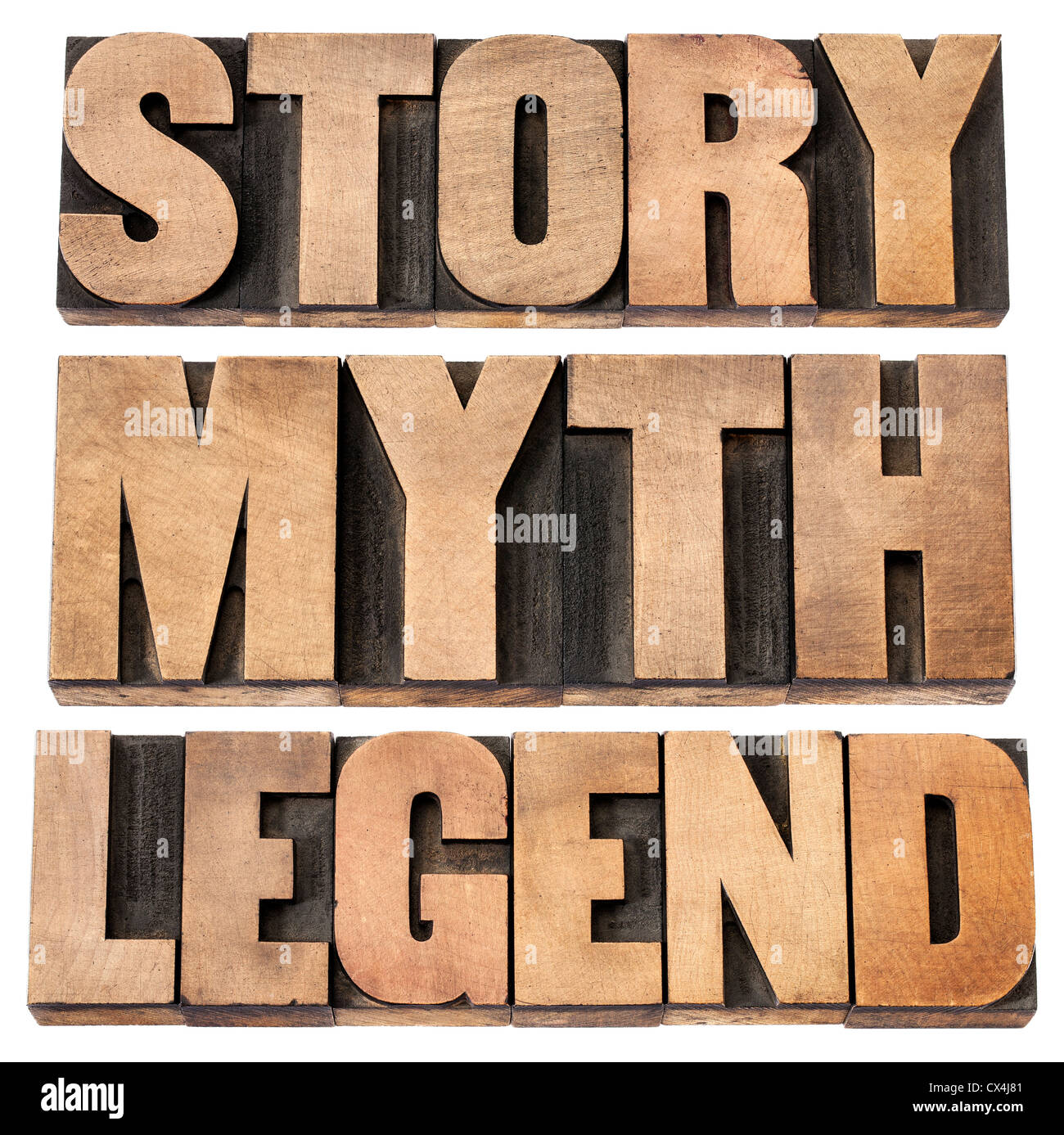 story, myth, legend - storytelling concept - isolated words in vintage letterpress wood type - Stock Image