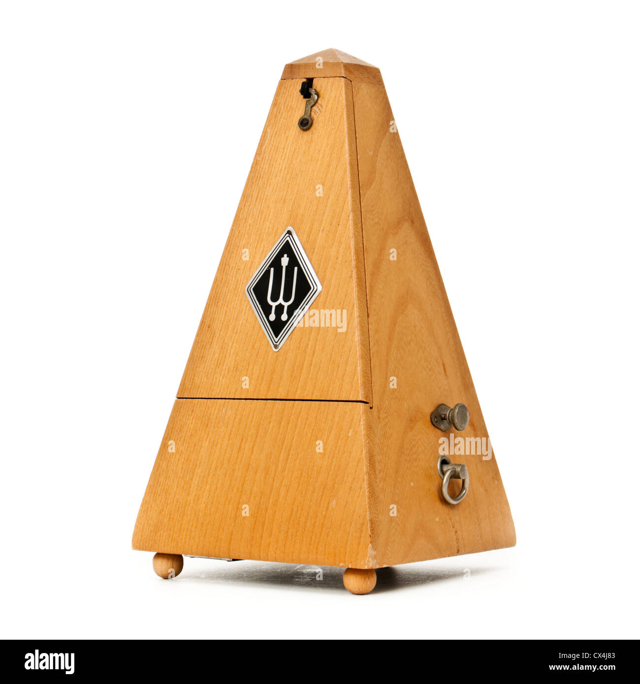 Vintage mechanical wooden pyramid metronome by Wittner of Germany - Stock Image