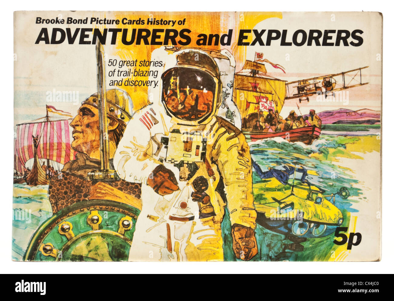 """Vintage """"History of Adventurers and Explorers"""" Brooke Bond Picture Cards album Stock Photo"""