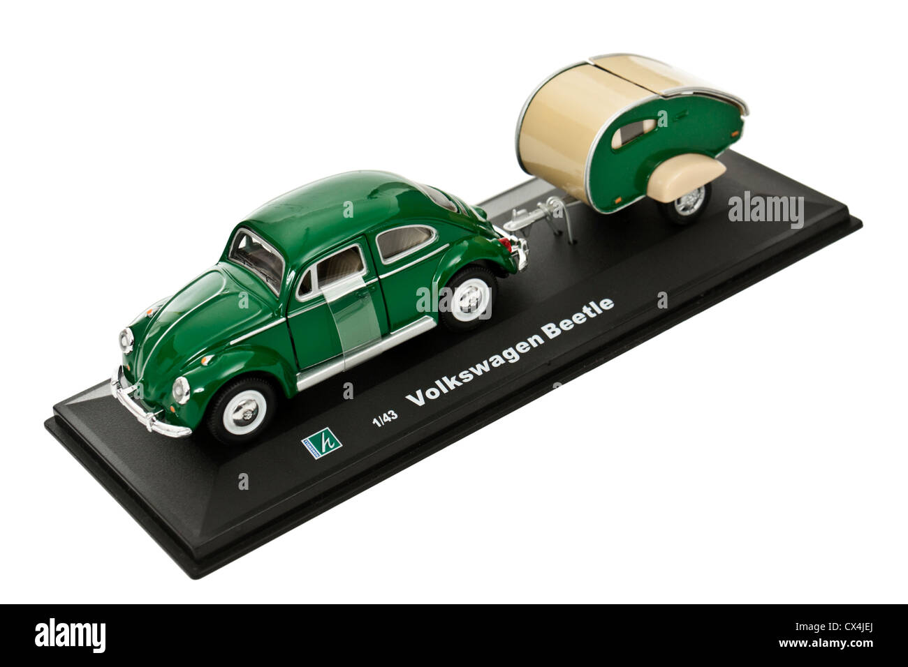 Cararama (Hongwell Toys) 1:43 scale diecast Volkswagen Beetle towing caravan Stock Photo